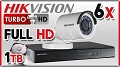 Hikvision Zestaw Do Monitoringu Turbo HD, 2Mpix, FULL HD, 6x kamera DS-2CE16D1T-IR/3.6mm, rejestrator DS-7208HQHI-F2/N/A, dysk 1TB, akcesoria
