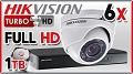 Hikvision Zestaw Do Monitoringu Turbo HD, 2Mpix, FULL HD, 6x kamera DS-2CE56D1T-IRM, rejestrator DS-7208HQHI-F2/N/A, dysk 1TB, akcesoria