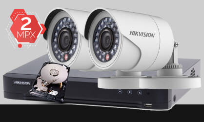 Zestaw do monitoringu Turbo HD Hikvision, 2x kamera Full HD DS-2CE16D0T-IR, rejestrator DS-7204HUHI-K1, dysk twardy 1TB, akcesoria do monitoringu
