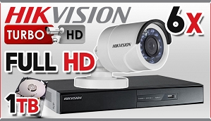 Zestaw Do Monitoringu Turbo HD Hikvision, 2Mpix, FULL HD, 6x kamera DS-2CE16D1T-IR/3.6mm, rejestrator DS-7208HQHI-F2/N/A, dysk 1TB, akcesoria