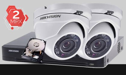 Zestaw do monitoringu Turbo HD Hikvision, 2x kamera Full HD DS-2CE56D0T-IRM, rejestrator DS-7204HUHI-K1, dysk twardy 500GB, akcesoria do monitoringu